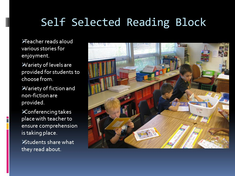 Self Selected Reading Block  Teacher reads aloud various stories for enjoyment.