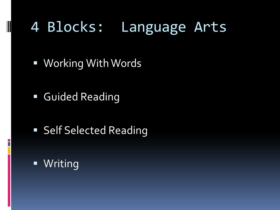4 Blocks: Language Arts  Working With Words  Guided Reading  Self Selected Reading  Writing