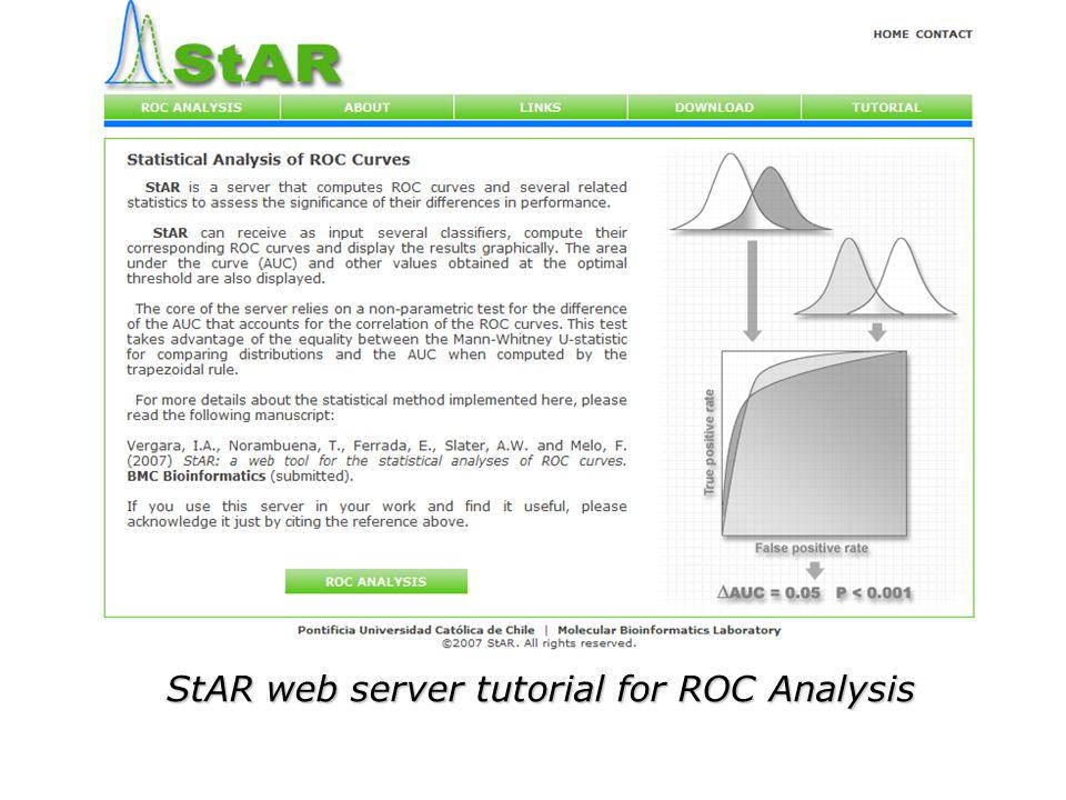 StAR web server tutorial for ROC Analysis  ROC Analysis ROC