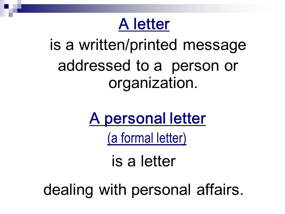 a personal letter the goal of the lesson the acquaintance with the