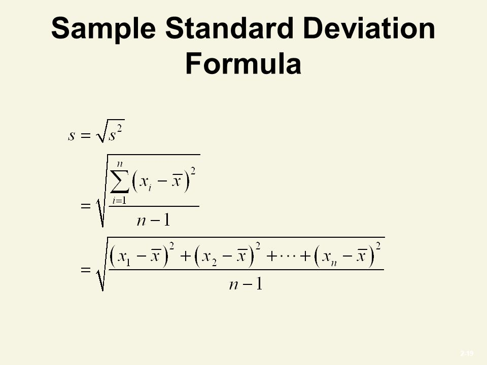 2-19 Sample Standard Deviation Formula