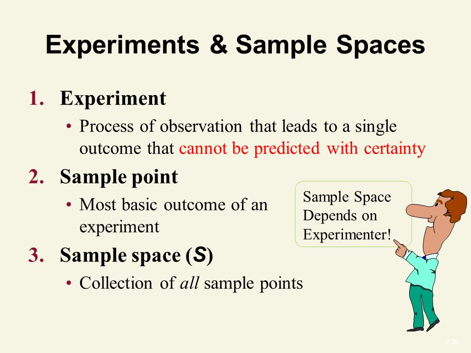 2-36 Experiments & Sample Spaces 1.Experiment Process of observation that leads to a single outcome that cannot be predicted with certainty 2.Sample point Most basic outcome of an experiment 3.Sample space ( S ) Collection of all sample points Sample Space Depends on Experimenter!