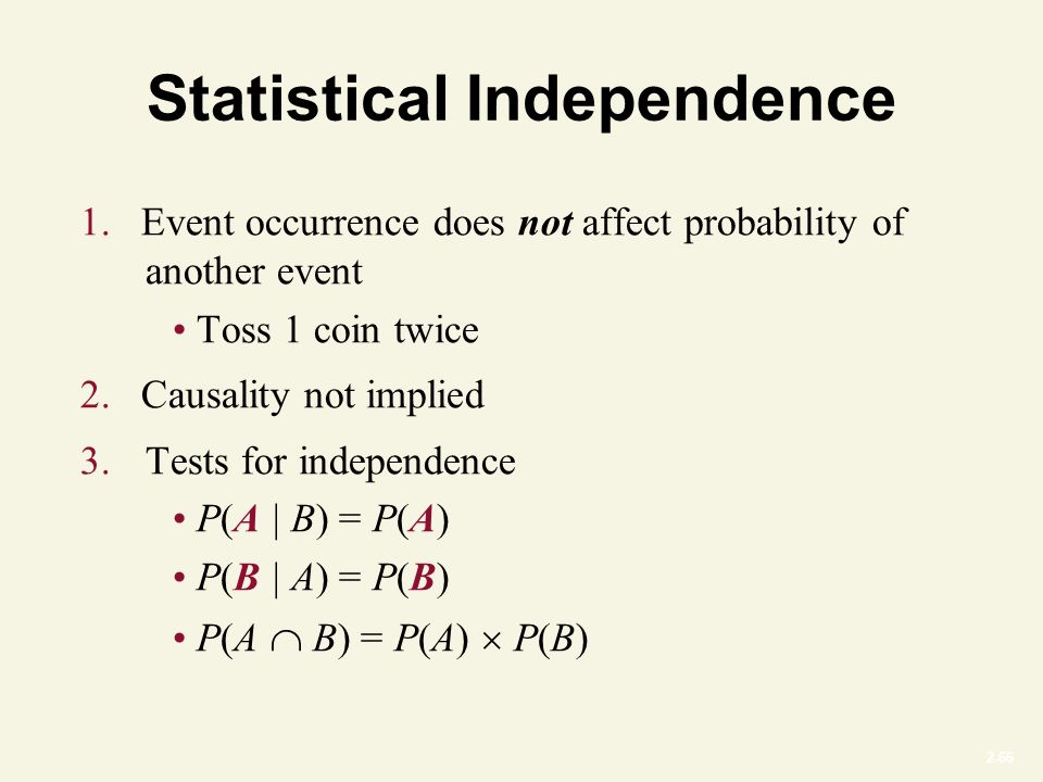 2-66 Statistical Independence 1.