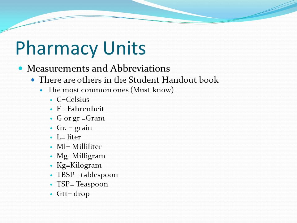Pharmacy Units Measurements and Abbreviations There are