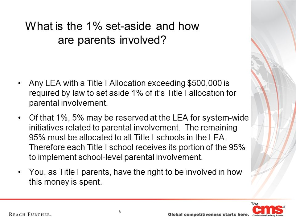 6 What is the 1% set-aside and how are parents involved.