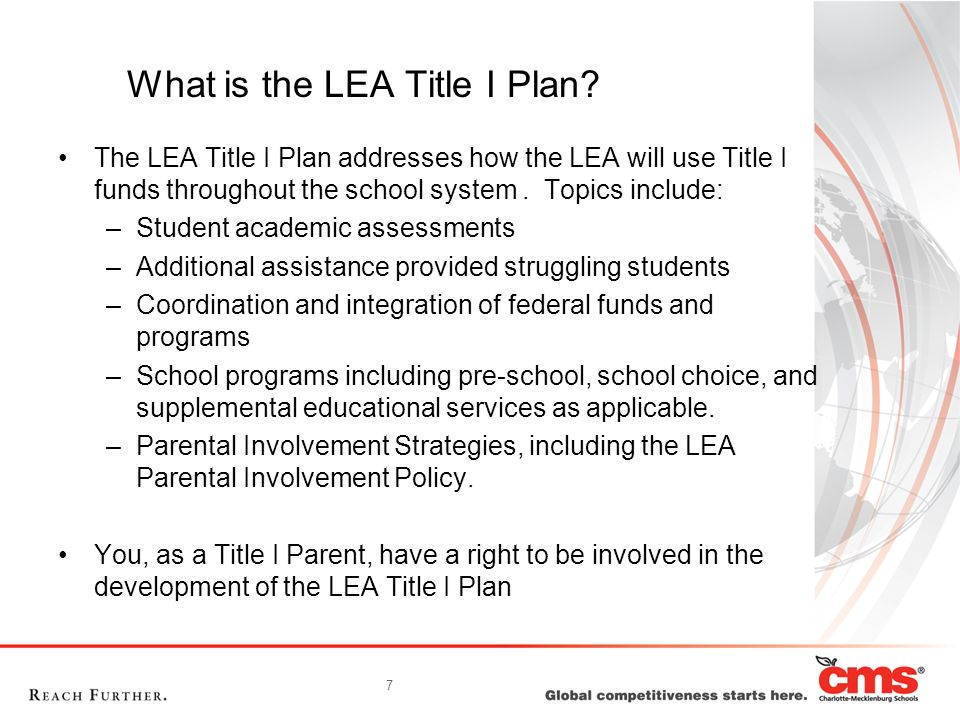 7 What is the LEA Title I Plan.