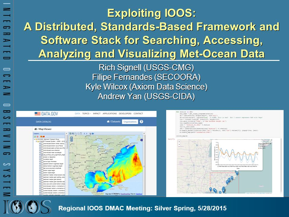 Exploiting IOOS: A Distributed, Standards-Based Framework and Software Stack for Searching, Accessing, Analyzing and Visualizing Met-Ocean Data Rich Signell (USGS-CMG) Filipe Fernandes (SECOORA) Kyle Wilcox (Axiom Data Science) Andrew Yan (USGS-CIDA) Regional IOOS DMAC Meeting: Silver Spring, 5/28/2015