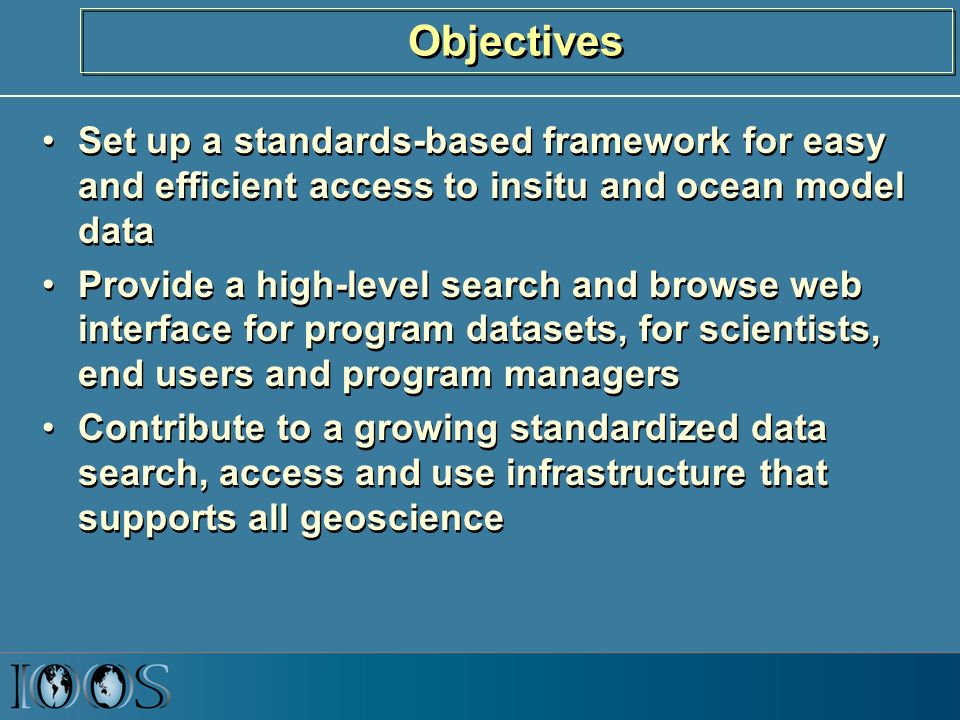 Objectives Set up a standards-based framework for easy and efficient access to insitu and ocean model data Provide a high-level search and browse web interface for program datasets, for scientists, end users and program managers Contribute to a growing standardized data search, access and use infrastructure that supports all geoscience Set up a standards-based framework for easy and efficient access to insitu and ocean model data Provide a high-level search and browse web interface for program datasets, for scientists, end users and program managers Contribute to a growing standardized data search, access and use infrastructure that supports all geoscience