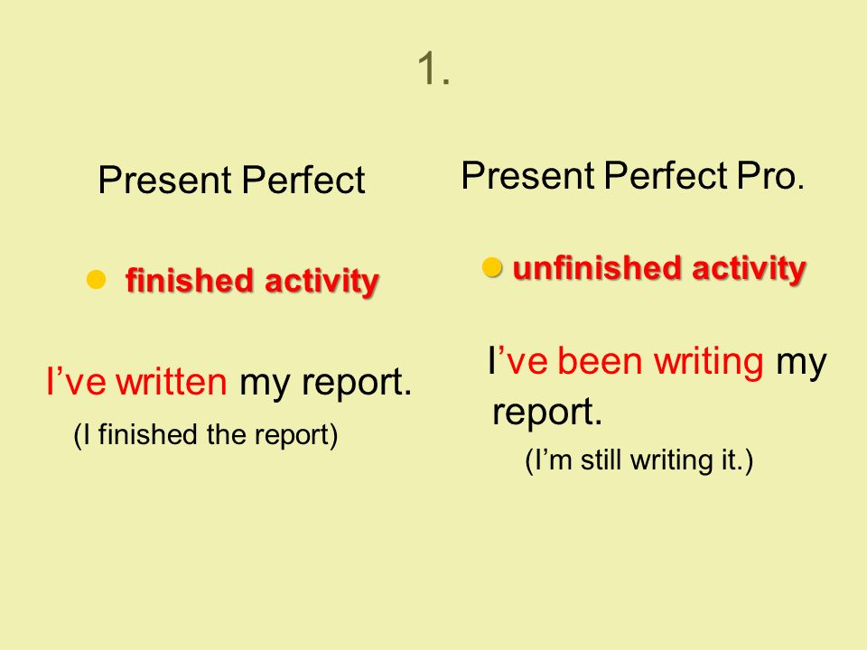 1. Present Perfect finished activity I've written my report.
