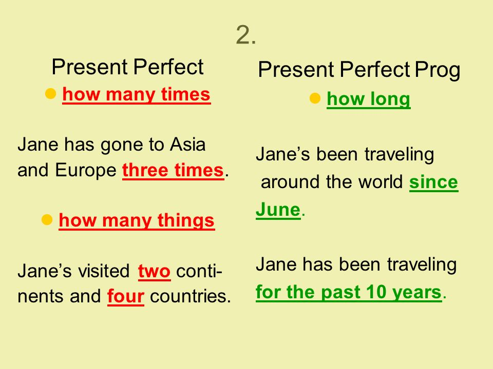 2. Present Perfect how many times Jane has gone to Asia and Europe three times.