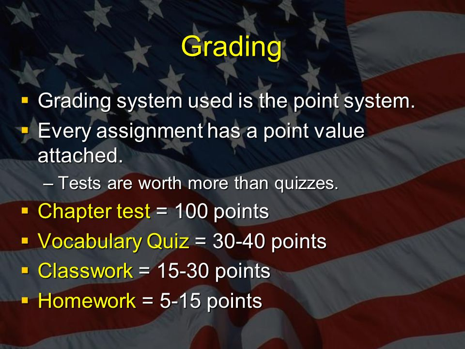 Grading  Grading system used is the point system.