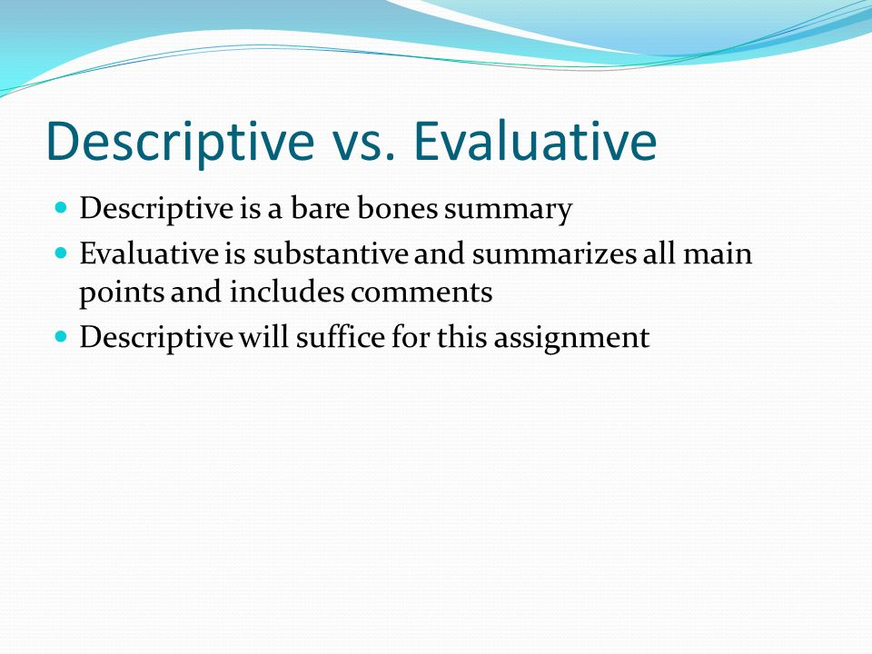 Descriptive vs.