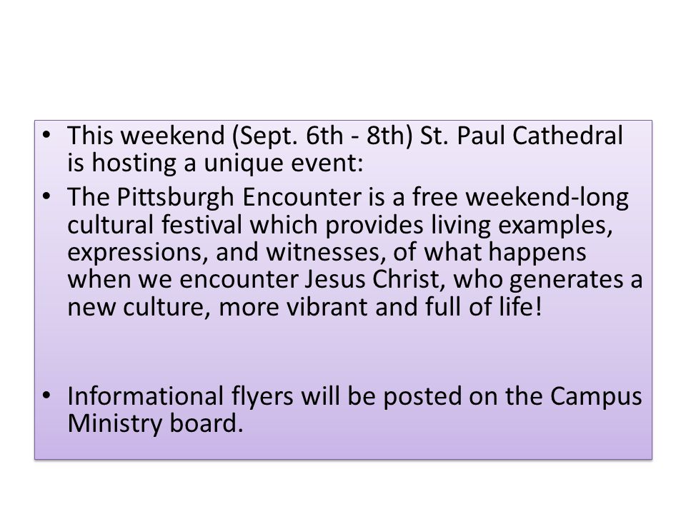This weekend (Sept. 6th - 8th) St.