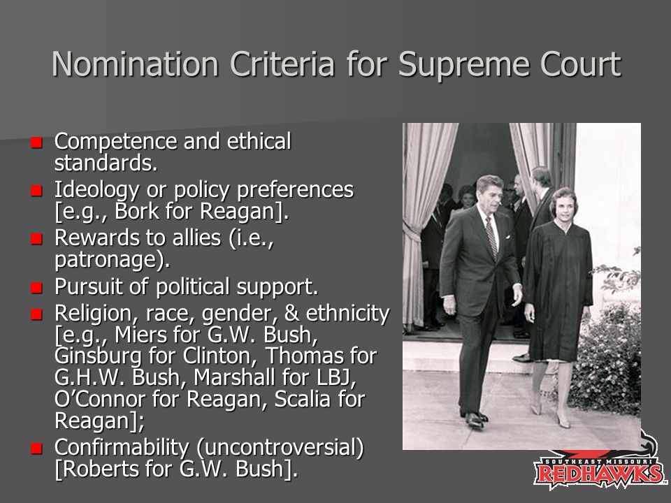 Nomination Criteria for Supreme Court Competence and ethical standards.