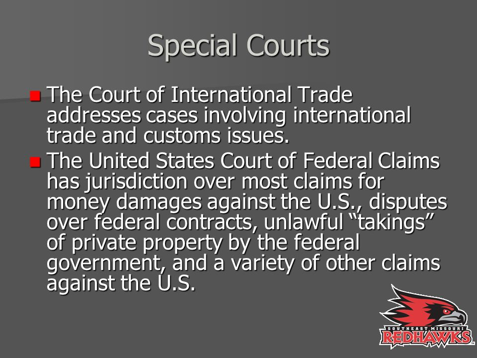 Special Courts The Court of International Trade addresses cases involving international trade and customs issues.