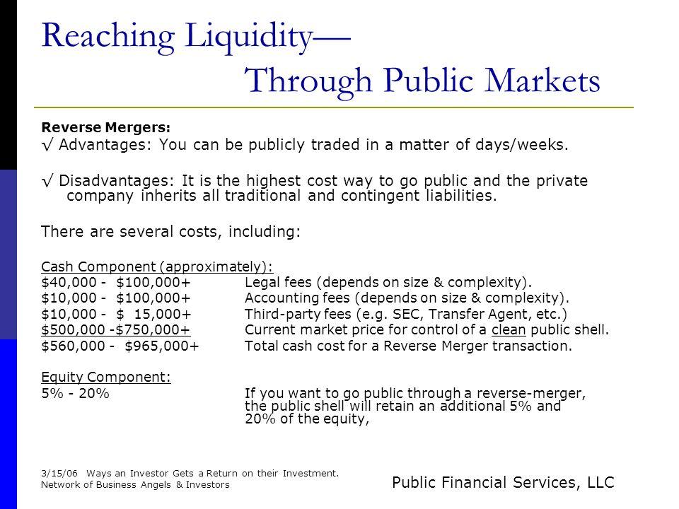 Public Financial Services, LLC Investor Briefing Reaching Liquidity