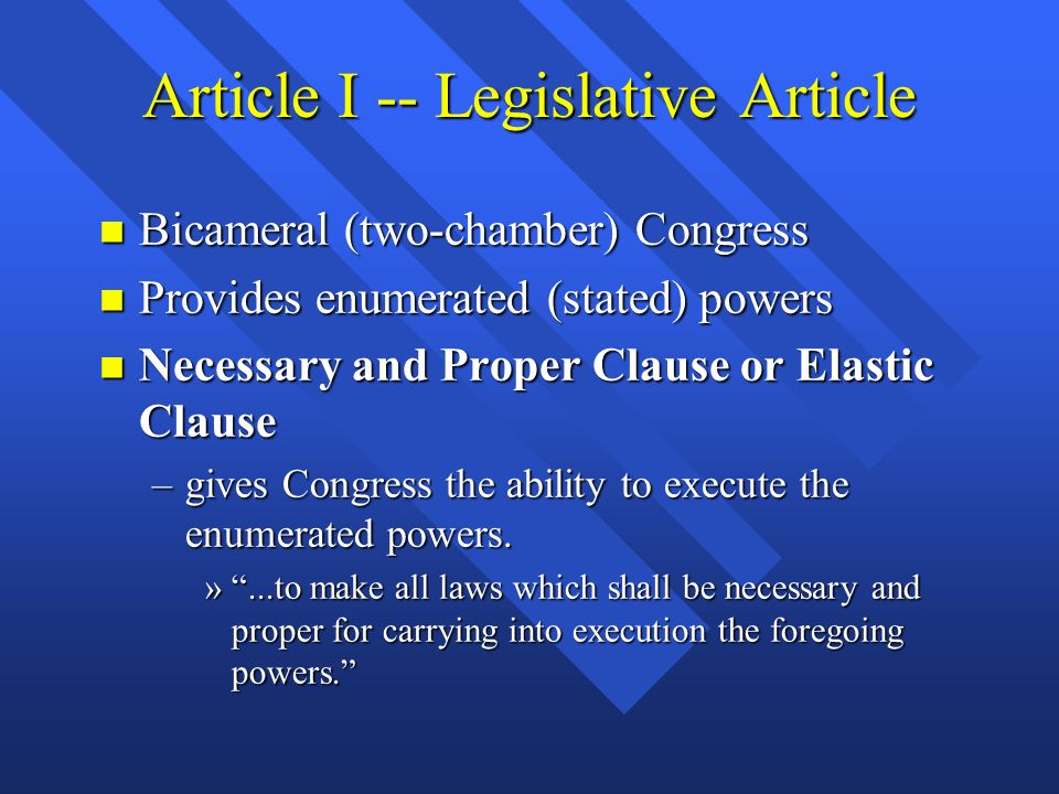 Checks and Balances n Gives each branch some control over the other branches n Prevents the exercise of power by any one branch of government n E.G., Congress passes a law, but the president can veto; Congress can then override with a 2/3 majority vote