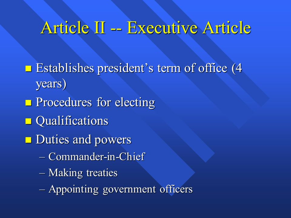 Article I -- Legislative Article n Bicameral (two-chamber) Congress n Provides enumerated (stated) powers n Necessary and Proper Clause or Elastic Clause –gives Congress the ability to execute the enumerated powers.