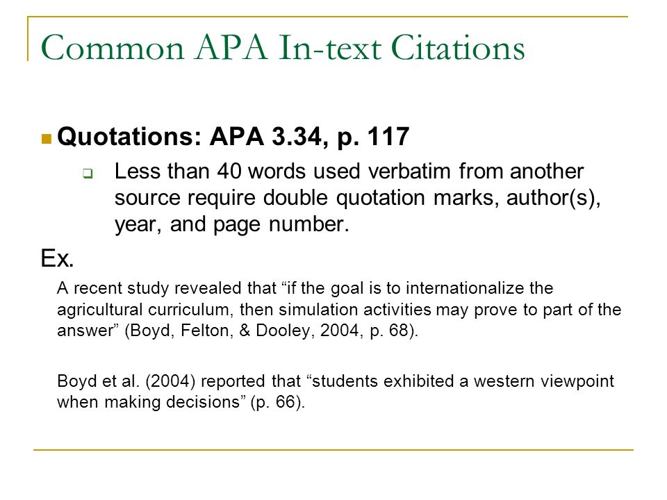 Alec 681 seminar apa style in text citations objectives discuss common apa in text citations quotations apa 334 p ccuart Image collections