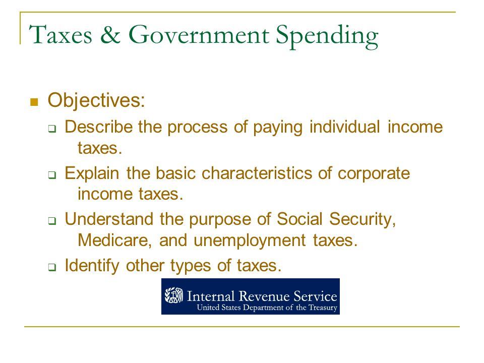 Taxes & Government Spending Objectives:  Describe the process of paying individual income taxes.