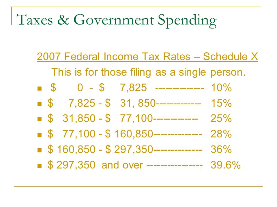 Taxes & Government Spending 2007 Federal Income Tax Rates – Schedule X This is for those filing as a single person.