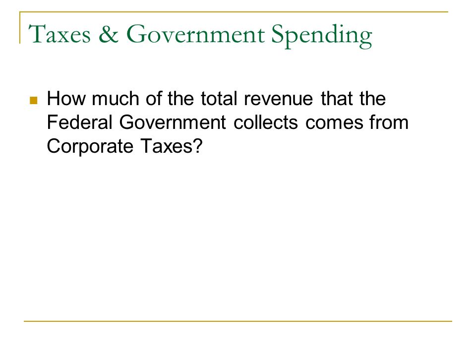 Taxes & Government Spending How much of the total revenue that the Federal Government collects comes from Corporate Taxes