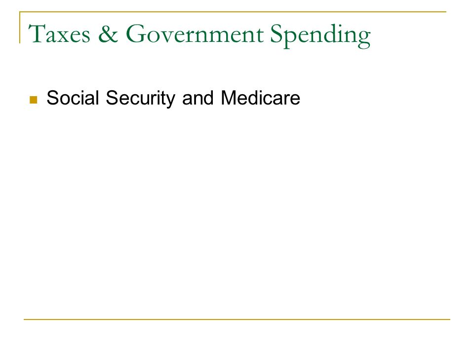 Taxes & Government Spending Social Security and Medicare