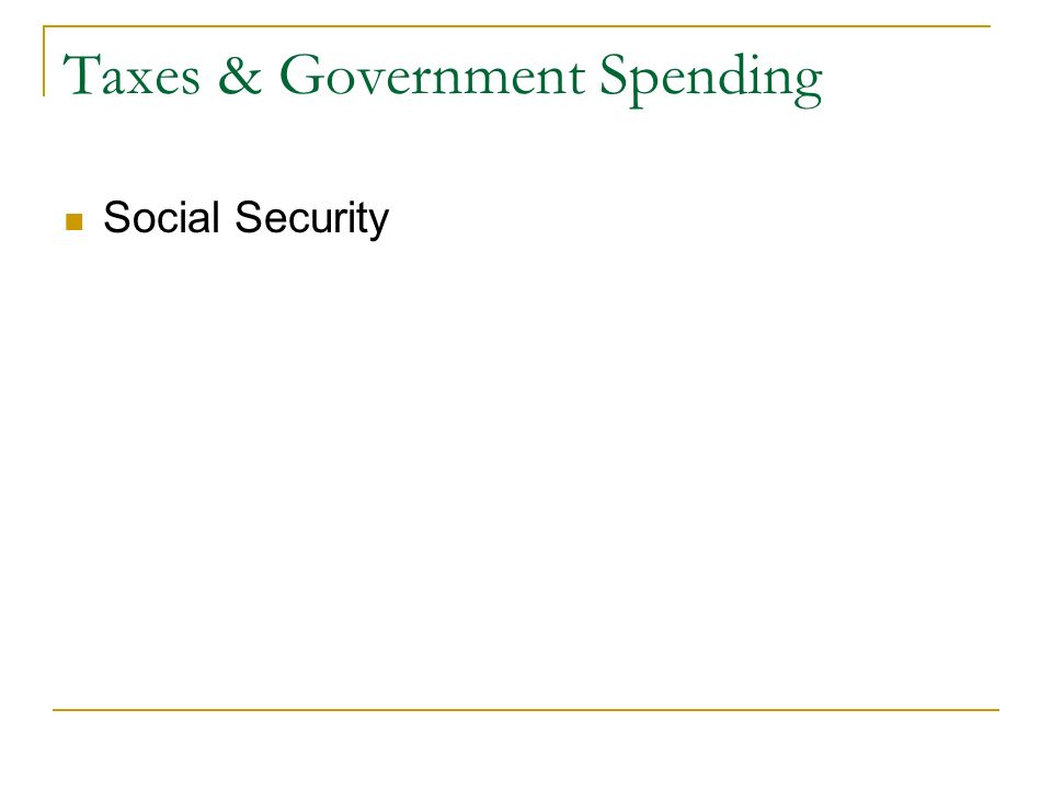 Taxes & Government Spending Social Security