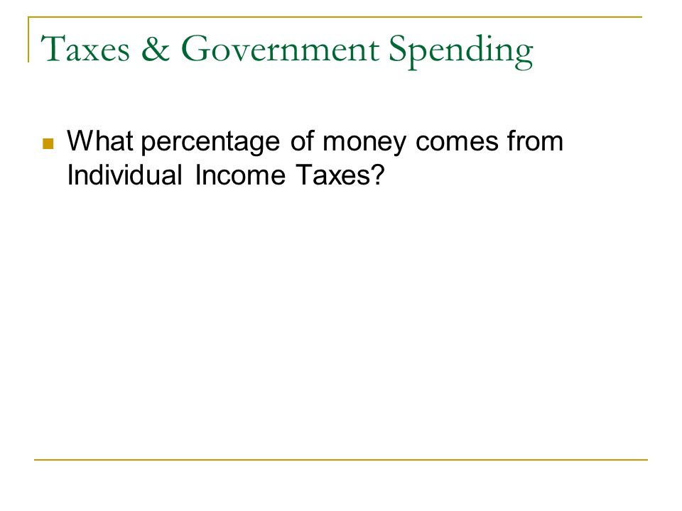 Taxes & Government Spending What percentage of money comes from Individual Income Taxes