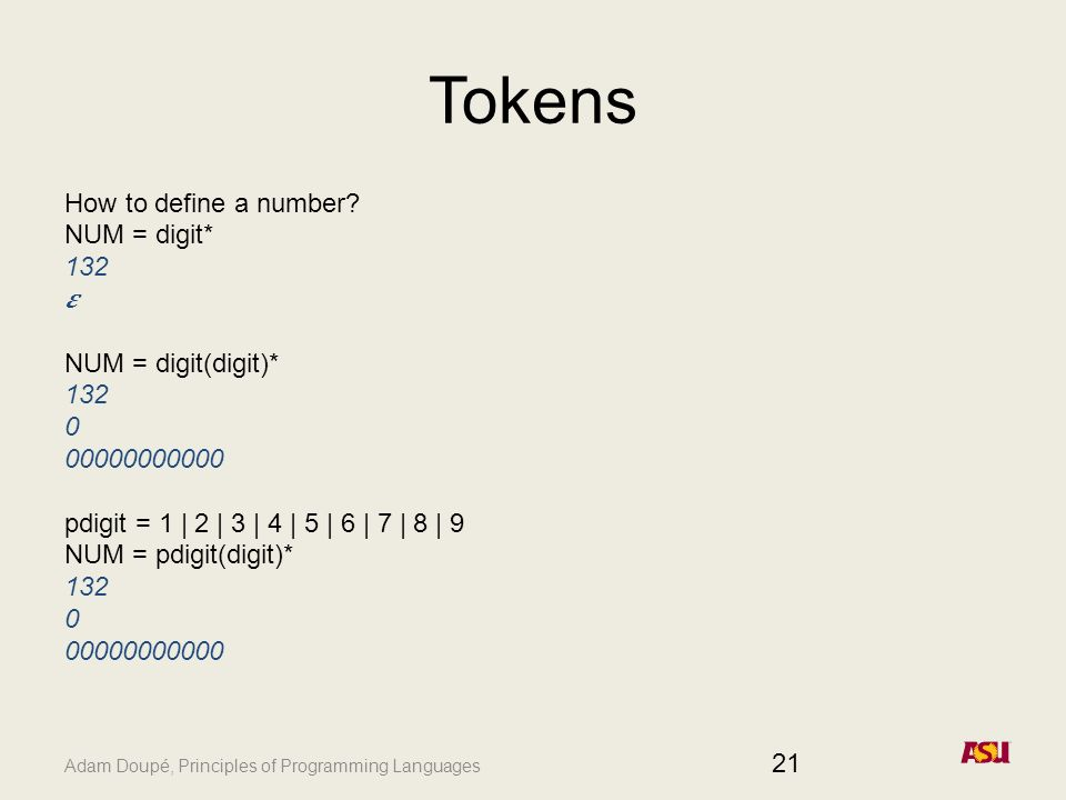 Adam Doupé, Principles of Programming Languages Tokens How to define a number.