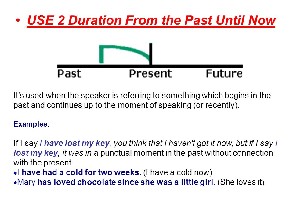 USE 2 Duration From the Past Until Now It s used when the speaker is referring to something which begins in the past and continues up to the moment of speaking (or recently).
