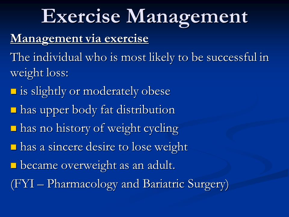 Exercise Management Obesity Chapter 25 Exercise Management Obesity Obesity Is The Excessive Accumulation Of Body Fat And Is Associated With Numerous Ppt Download