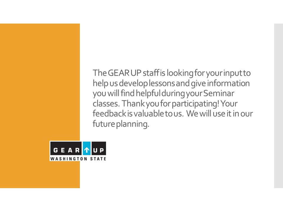 gear up seminar december 16 remember to wear your college gear or