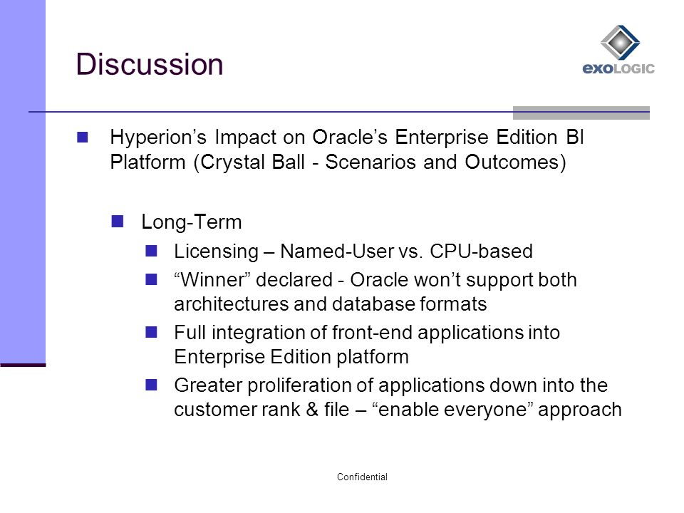 Confidential Oracle's Acquisition Of Hyperion – Issues