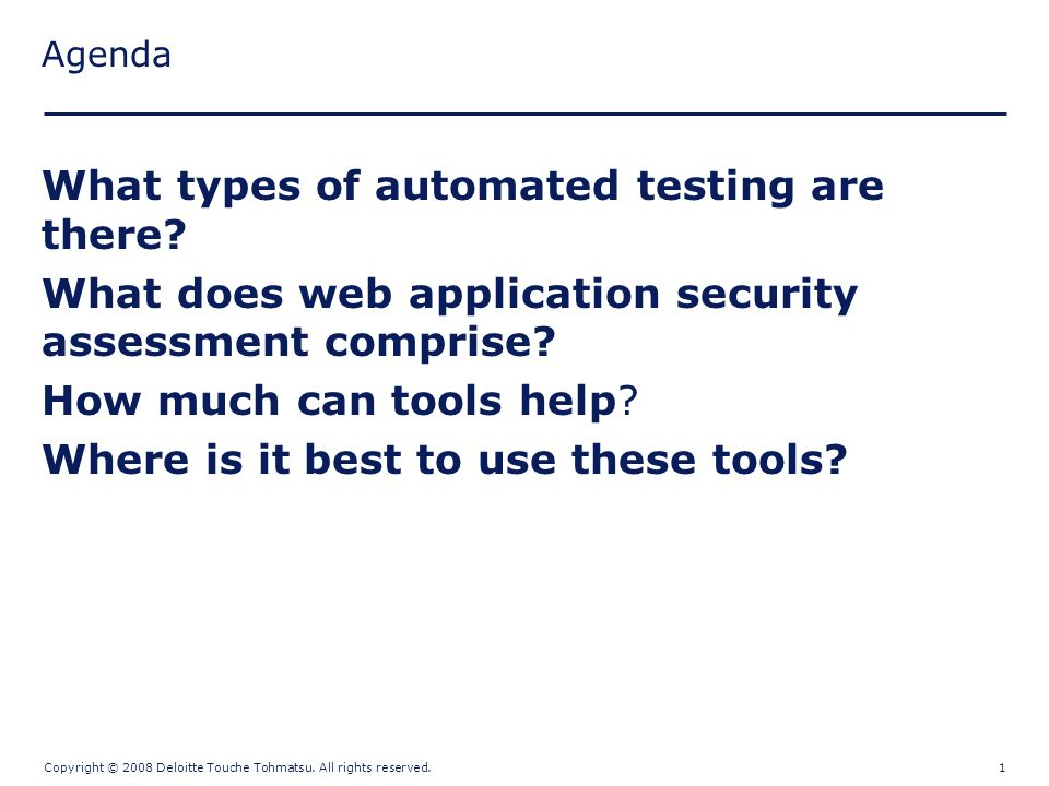 Web Application Security Testing Automation   Copyright