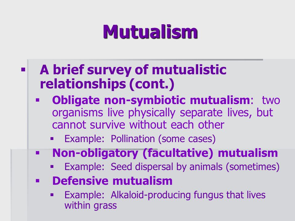 non examples of mutualism