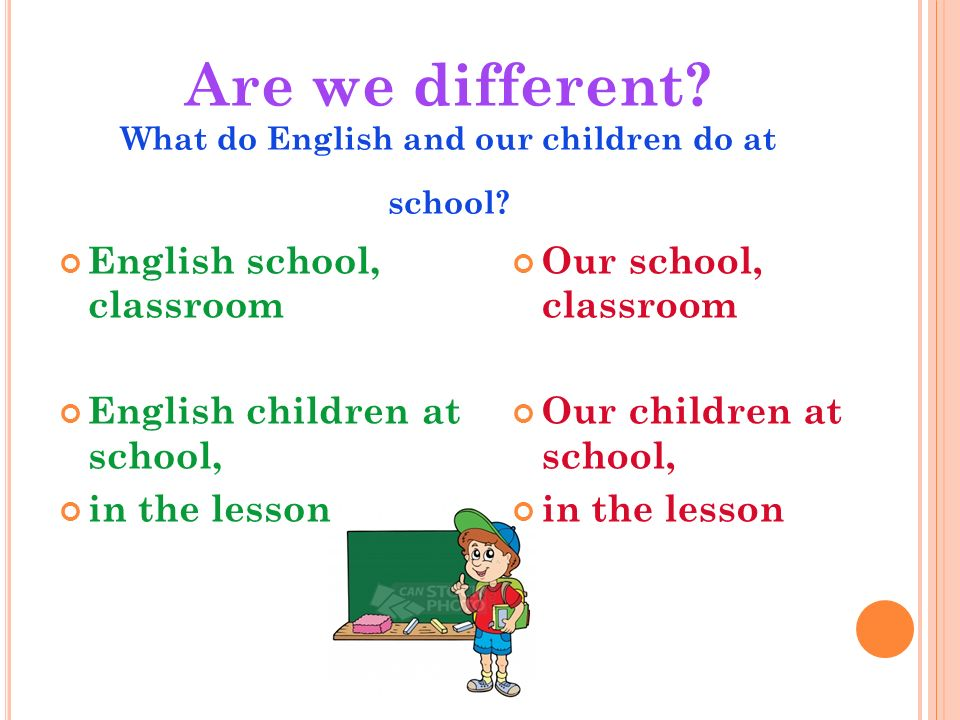 Are we different. What do English and our children do at school.