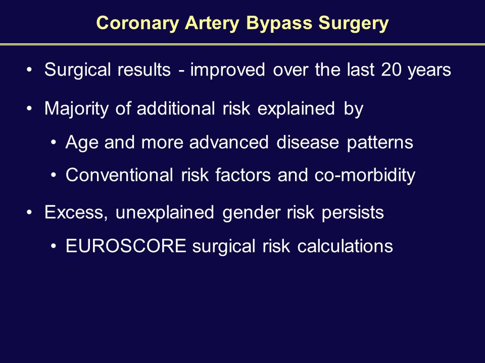 Coronary Artery Bypass Surgery Surgical results - improved over the last 20 years Majority of additional risk explained by Age and more advanced disease patterns Conventional risk factors and co-morbidity Excess, unexplained gender risk persists EUROSCORE surgical risk calculations