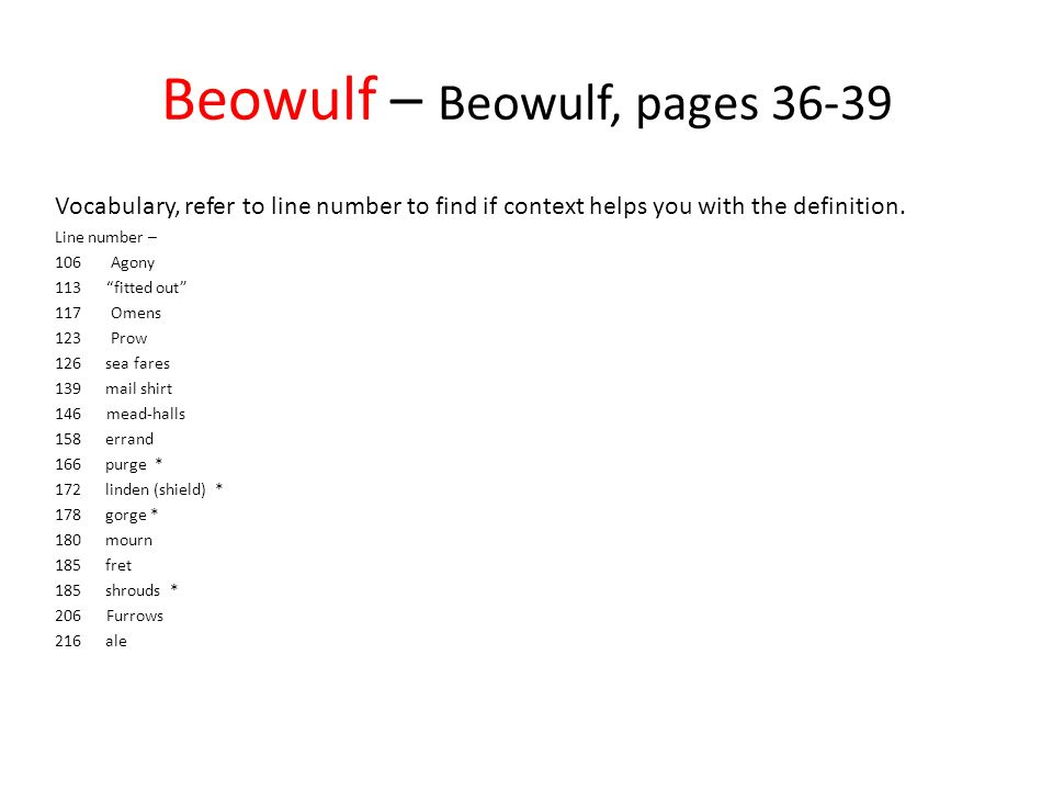Beowulf in Language of Literature Vocabulary - to help you