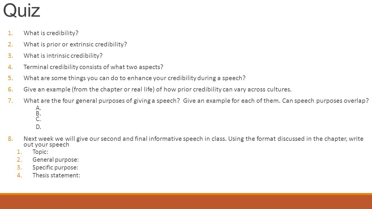 credibility statement for informative speech