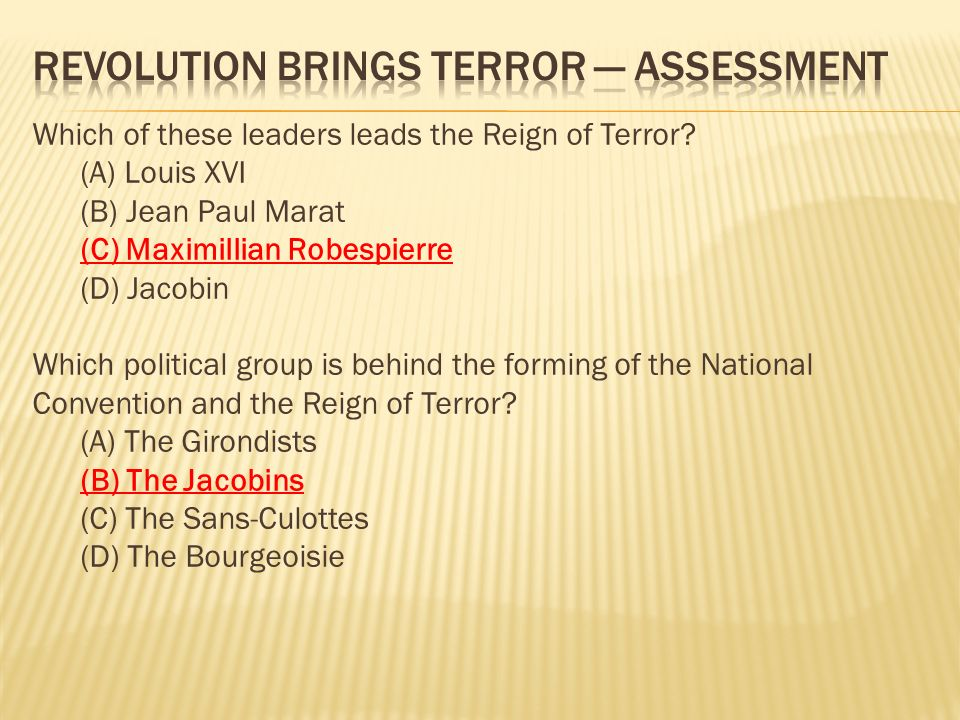 Which of these leaders leads the Reign of Terror.
