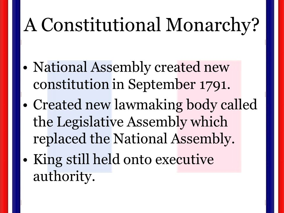 A Constitutional Monarchy. National Assembly created new constitution in September