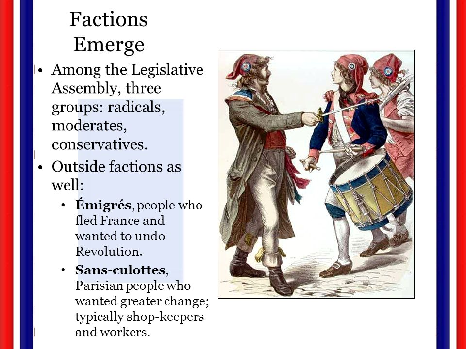 Factions Emerge Among the Legislative Assembly, three groups: radicals, moderates, conservatives.