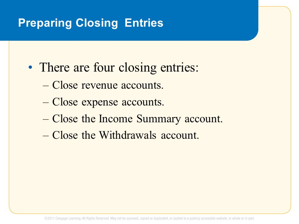 Preparing Closing Entries There are four closing entries: –Close revenue accounts.