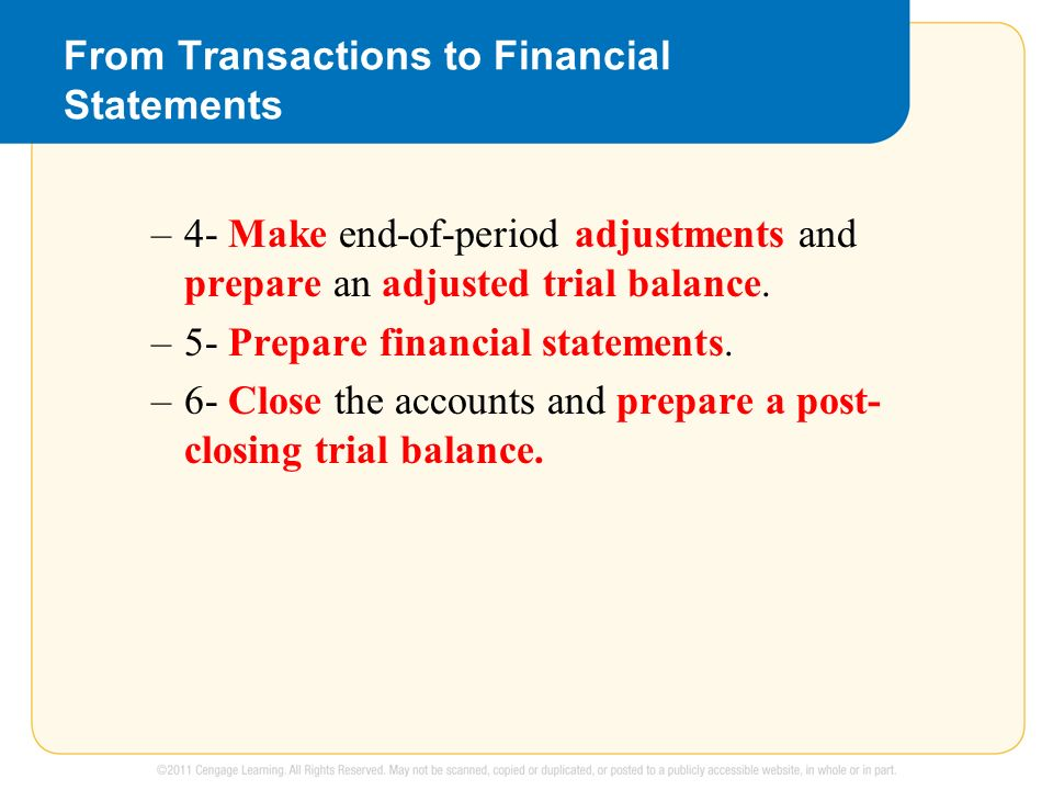 From Transactions to Financial Statements –4- Make end-of-period adjustments and prepare an adjusted trial balance.