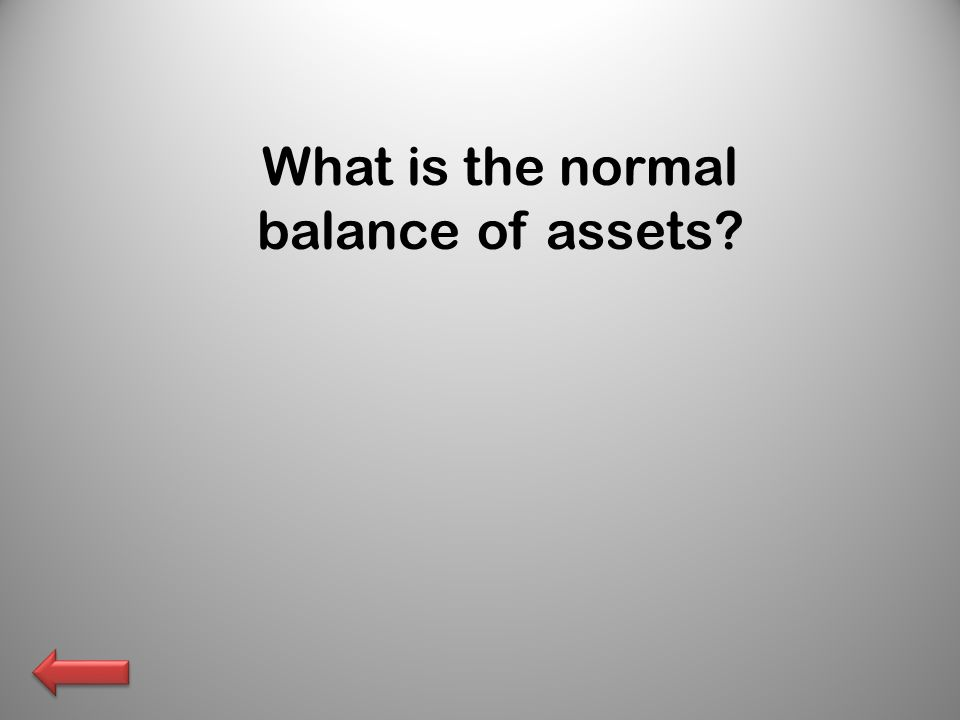 What is the normal balance of assets