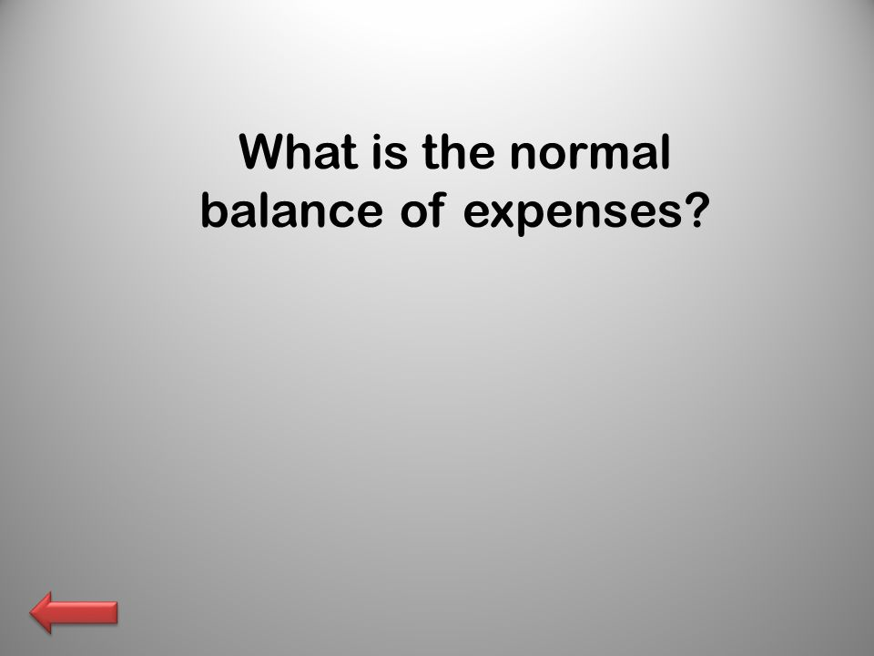What is the normal balance of expenses