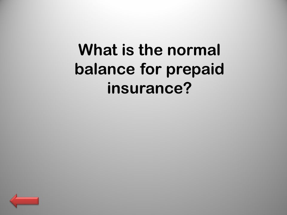 What is the normal balance for prepaid insurance