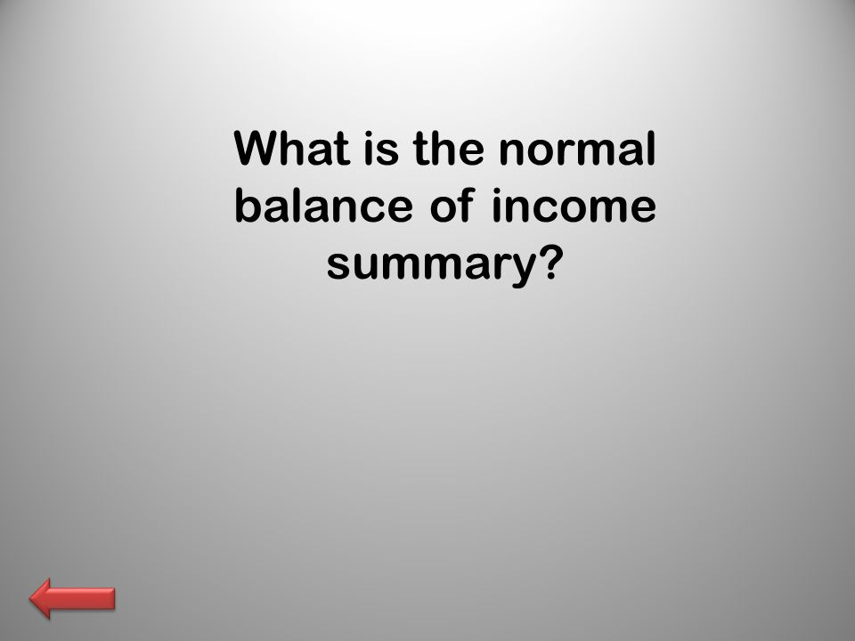 What is the normal balance of income summary