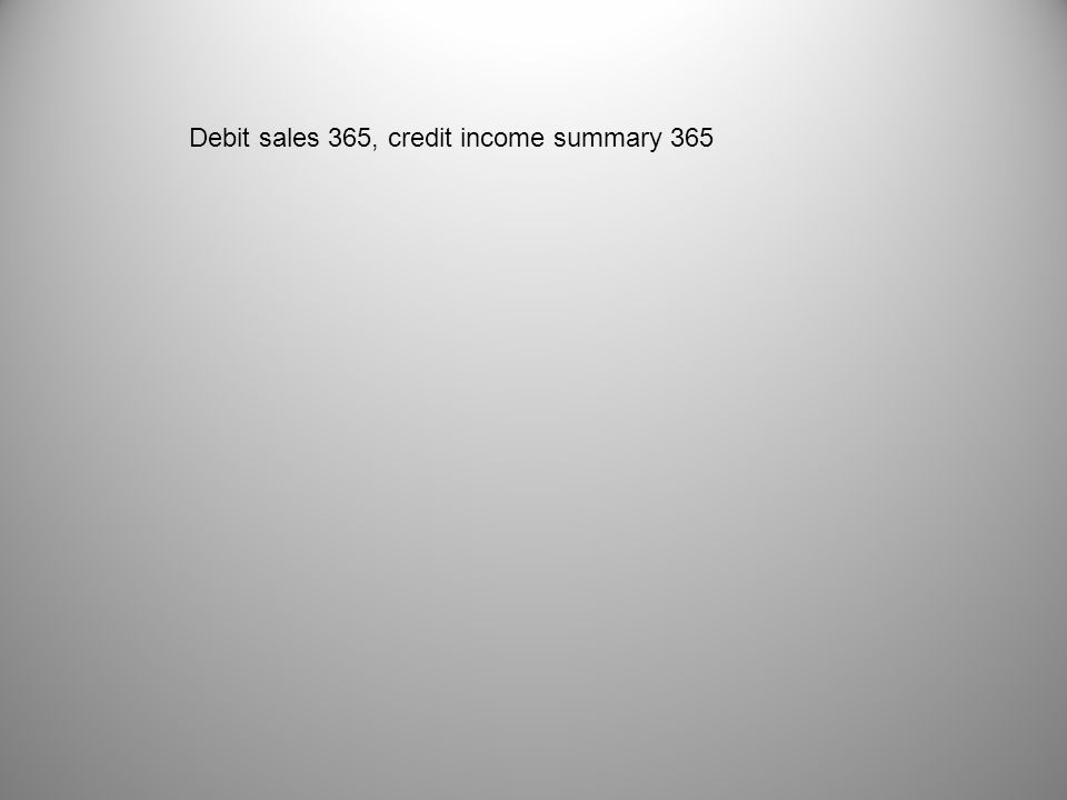 Debit sales 365, credit income summary 365